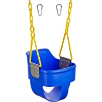 Squirrel Products High Back Full Bucket Toddler Swing 2.0 with Pinch Protection Technology Plastic Coating Design and Carabiners for Easy Install - Blue