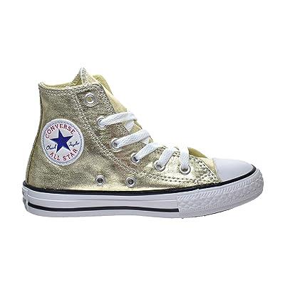 c40311f41a1 CONVERSE KIDS ALL STAR HI SHOES LIGHT GOLD WHITE BLACK SIZE 10.5 ...