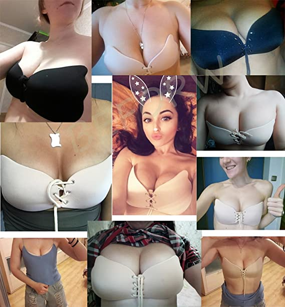 f6ccaffc8f Kingoudoor Backless Strapless Bra Pushup Self Adhesive Bras for Women  A