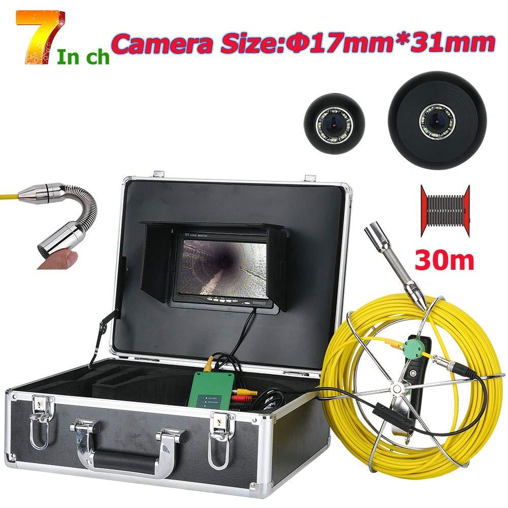 30メートル7インチ17ミリメートル工業用パイプ下水道検査ビデオカメラip68防水排水管下水道検査カメラシステム1000 tvlカメラで8ピースledライト