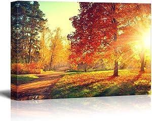 "wall26 - Autumn Scene Fall - Canvas Art Wall Art - 24"" x 36'"