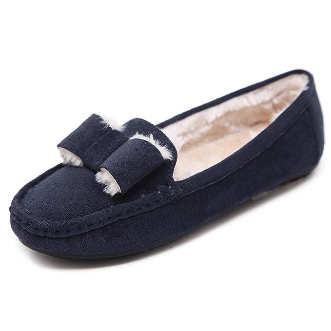 Morbuy Mujer Clásico Gamuza Mocasines más Terciopelo, Piel Calientes Otoño Invierno Zapatos Planos Loafers Zapatos del Barco Casual Zapatos de Conducción: ...