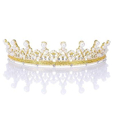 Remedios Strass Kristall Braut Hochzeit Diadem Tiara Gold Festzug Prinzessin Krone Brautschmuck