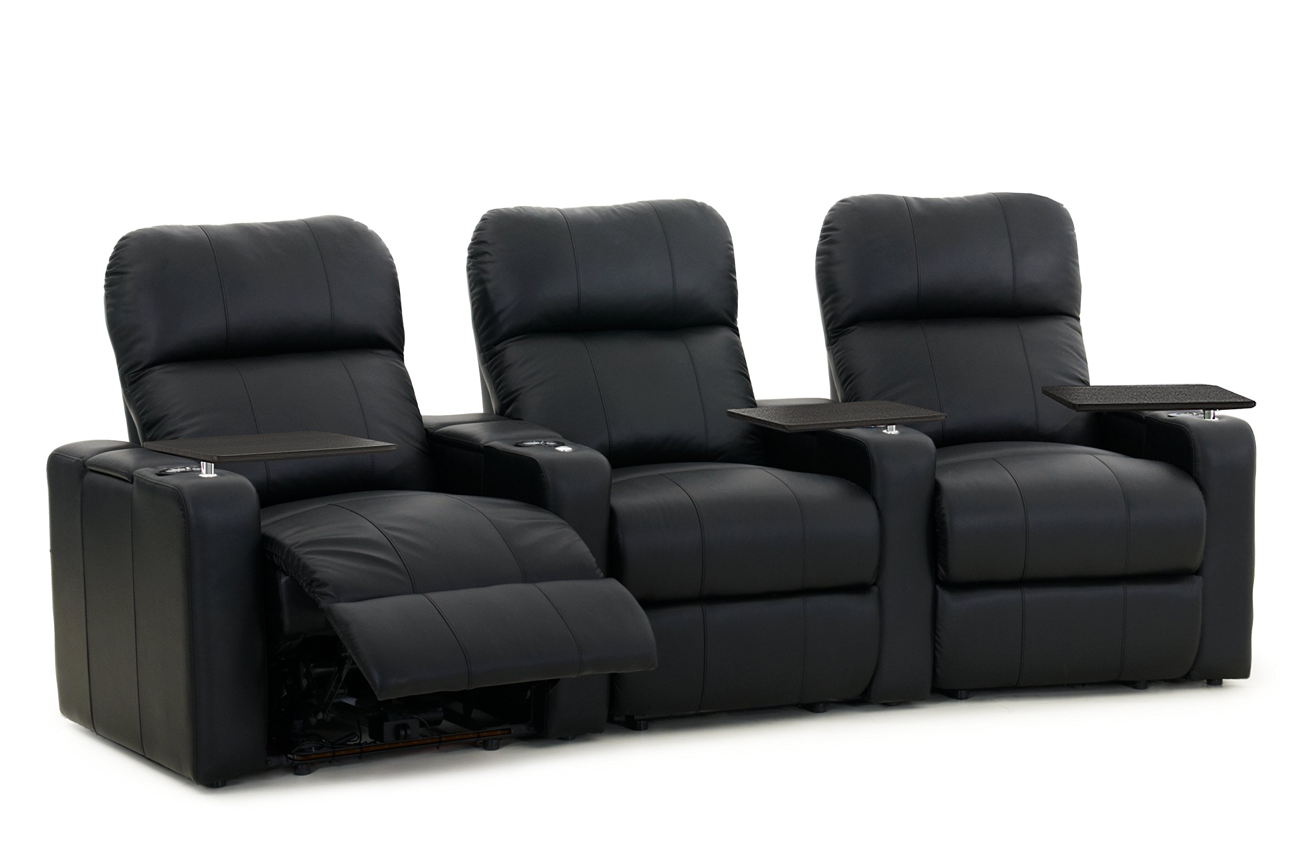 Octane Turbo XL700 Row of 3 Seats, Curved Row in Black Bonded Leather with Manual Recline