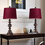 """Oneach Melinda Traditional Table Lamps Set of 2 Vintage Desk Lamp for Living Room Bedroom Study 24.5"""" Oil Rubbed Bronze"""