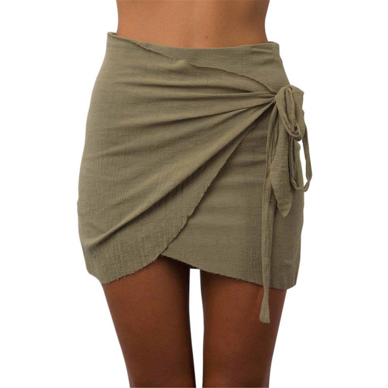 Xingyunlin NEW Summer Fashion Tie up Beach Short Skirts Women Vintage Irregular High Waist Skirts Bodycon Wrap Skirt Mini Boho Skirts DG M