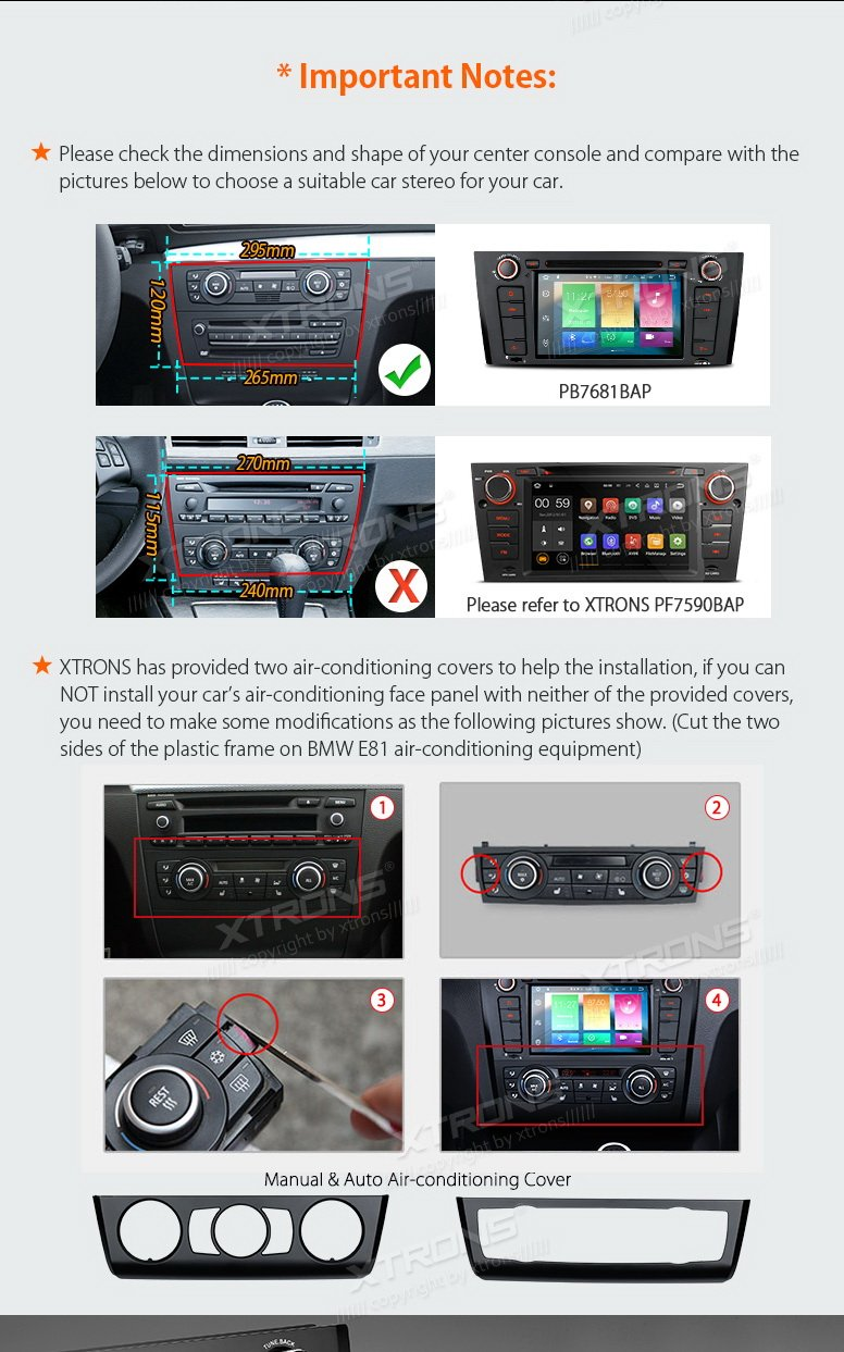 XTRONS Android 6.0 Octa-Core 64Bit 7 Inch Capacitive Touch Screen Car Stereo Radio DVD Player GPS CANbus Screen Mirroring Function OBD2 Tire Pressure Monitoring for BMW 1 Series E81 E82 E88 by XTRONS (Image #4)