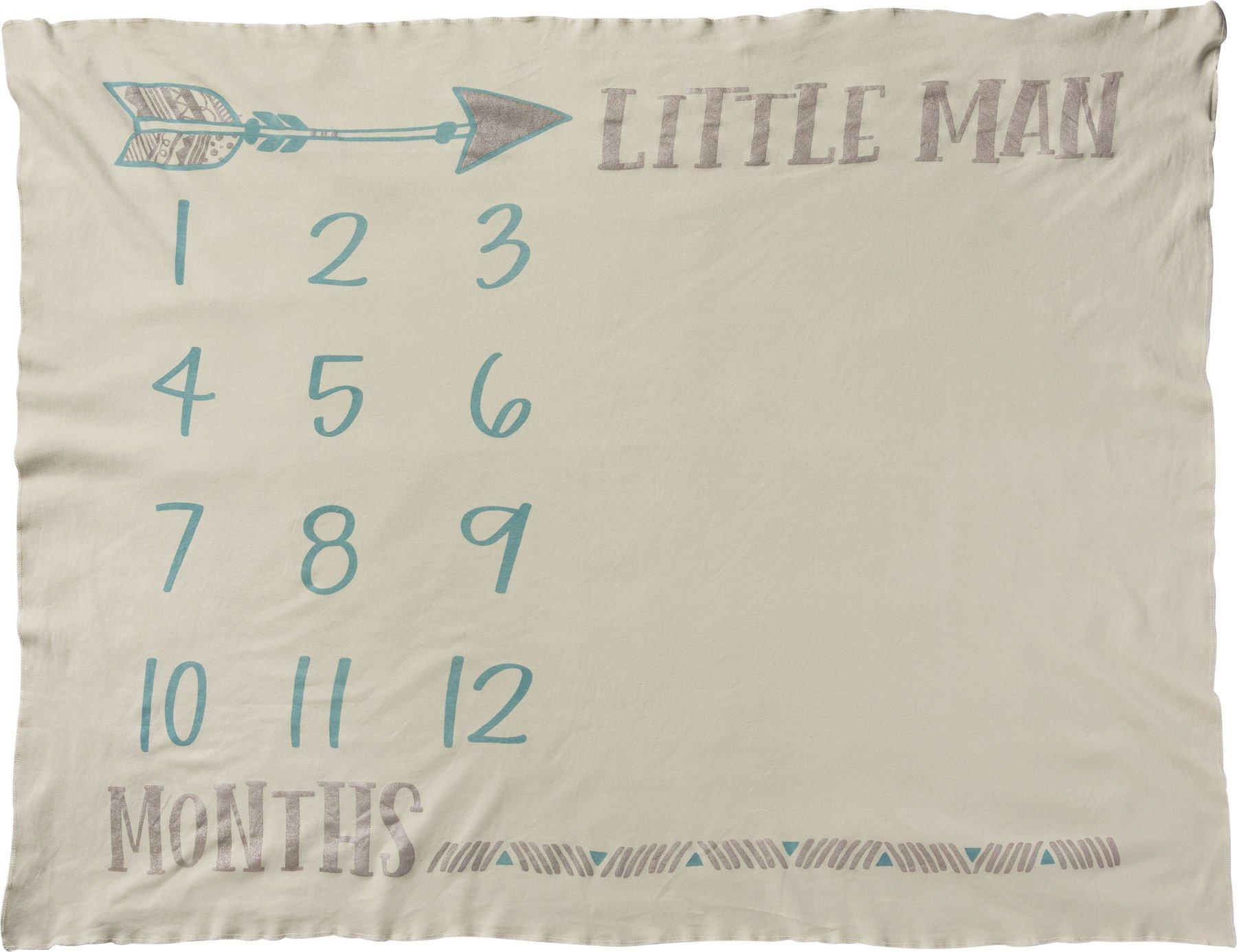 Primitives by Kathy Swaddle Blanket, Little Man Milestone Photo Prop Baby Boy Blanket, Soft Knit Pima Cotton, 42'' x 36'' by Primitives by Kathy