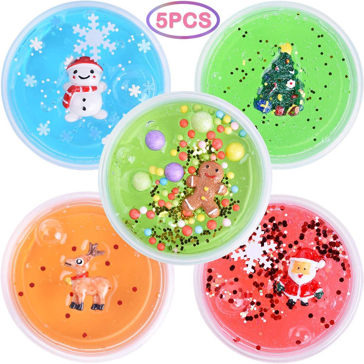 LEEHUR Weihnachten Kristall Schleim Set, 5 Farbe DIY Cristall ...