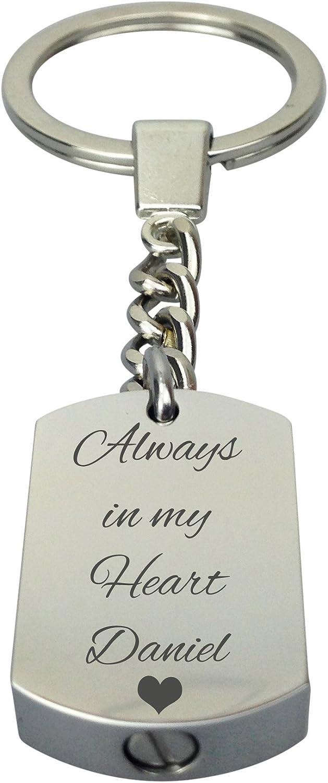 Always in my Heart Mum Urn Keyring Keychain Memorial Ash Keepsake Cremation Personalised Engraved