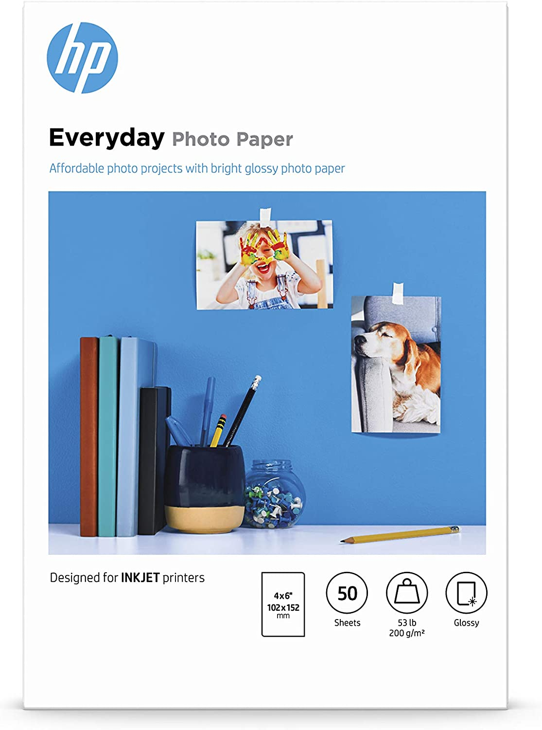 HP Everyday Photo Paper | Glossy | 4x6 | 50 Sheets