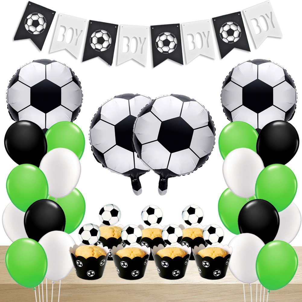 Soccer Party Decorations Balloons Birthday With Foil Baby Boy Banner Cupcake Toppers For Sports Themed