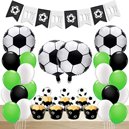 Soccer Party Decorations Balloons Birthday With Foil Baby Boy Banner Cupcake