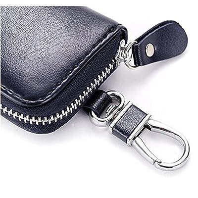 Men Oil Wax Leather Zipper Key Case Car Key Coin Holder 6 Hook Key Wallet