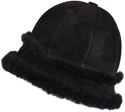 9b797090 Zavelio Women's Shearling Sheepskin Winter Fur Bucket Beanie Hat Black  Suede S