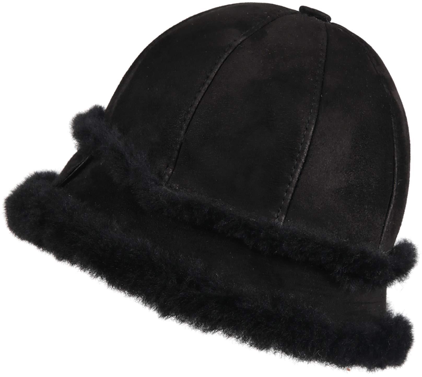 Zavelio Women's Shearling Sheepskin Winter Fur Bucket Beanie Hat Black Suede L