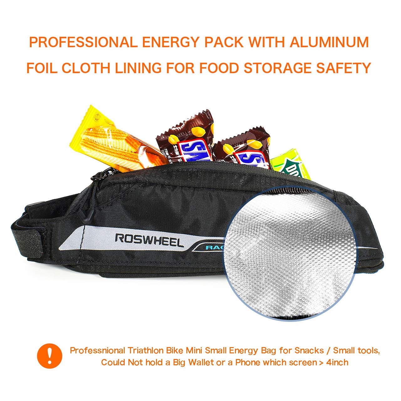 FlexDin Bicycle Frame Energy Bag, Road Racing/Touring / Triathlon Aerodynamic Bike Top Tube Cycling Fuel Bag Food Pouch Waterproof 420D 0.4L Black by FlexDin (Image #4)