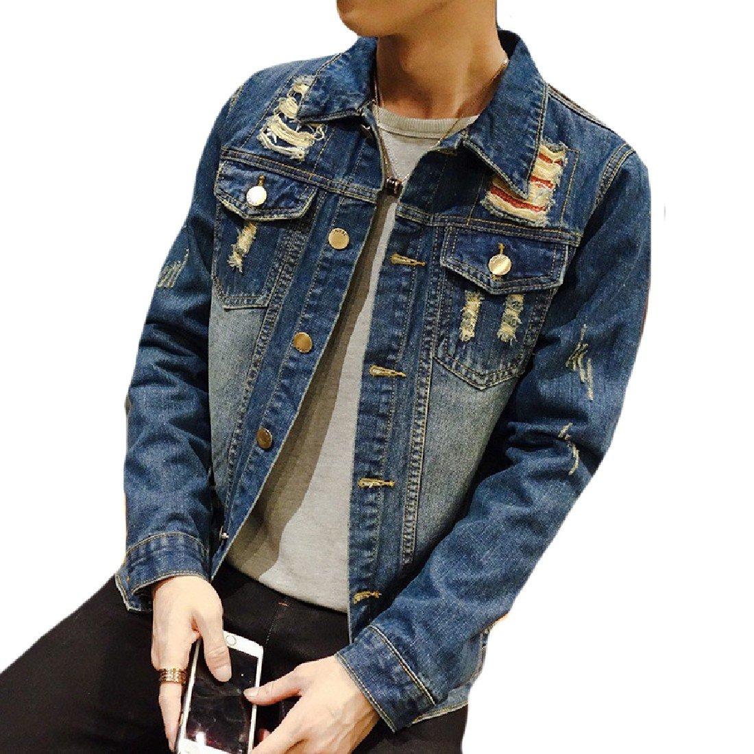 SportsX Men Juniors' Vintage Jean Punk Rock Coats 1 M