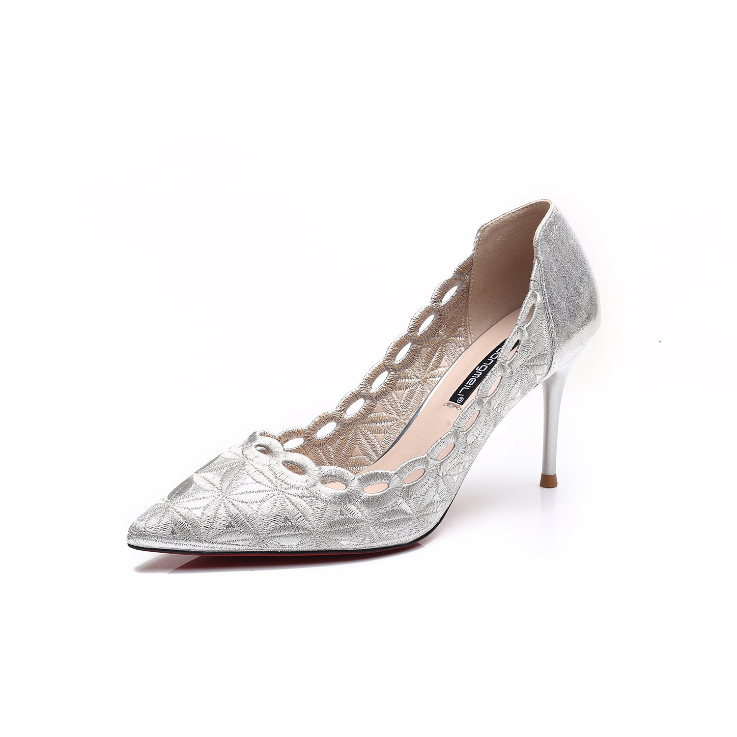 The high-heel shoes fashion, with a fine tip satin Embroidery thread single shoes, silver,35