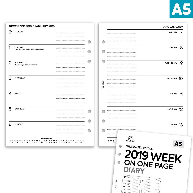 in inglese compatibile ricarica inserto colorato A5 Lilac Nbplanner/® 2019/settimana su una pagina A5/Filofax agenda organiser