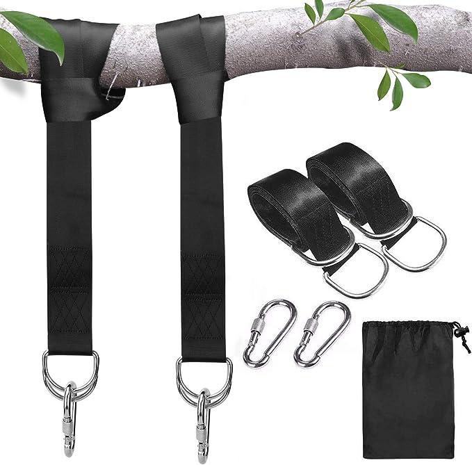 Correas Colgantes para Columpios de árboles, 1.5M Kit para Colgar con Mosquetones de Seguridad, Terileno, se Adapta Perfectamente a Todos los ...