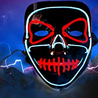 Lictin Halloween LED Maschere Divertente - 4 modalità LED Leggero Divertente Maschere (Blu)