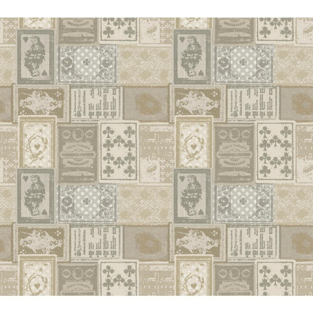 York Wallcoverings American Classics Eclectic Patchwork Wallpaper Memo Sample, 8 by 10-Inch, Eggshell, Beige, Grey, Bronze, Pewter by York Wallcoverings