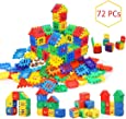 AdiChai Multi Colored 72 Pcs Mega Jumbo Happy Home House Building Blocks with Attractive Windows and Smooth Rounded Edges - Building Blocks for Kids (72 Blocks) - Blocks Game