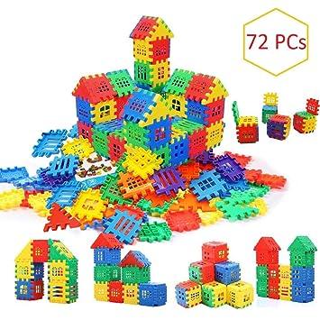AdiChai Multi Colored 72 Pcs Mega Jumbo Happy Home House Building Blocks with Attractive…