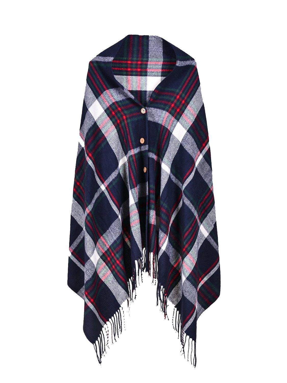 Choies Women's Navy Plaid Tassel One Button Scarf Wraps Poncho Blanket Scarves