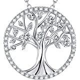 "The Tree of Life Necklace Christmas Gifts for Her Sterling Silver -18""+2"" Chain Simulated Diamond"