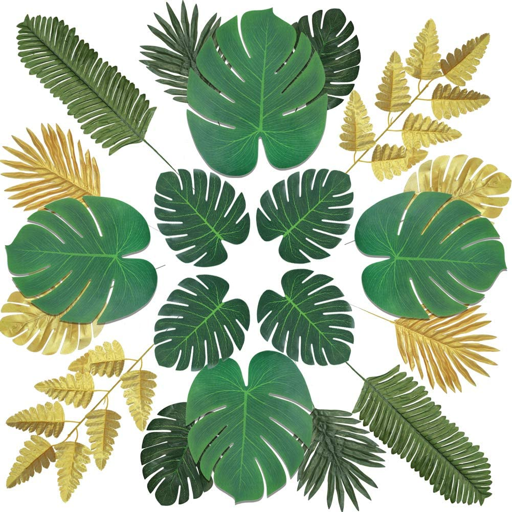 Greentime 60pcs 8 Kinds Artificial Palm Leaves Tropical Faux Monstera Leaves with Stems Tropical Leaves for Jungle Theme Party Hawaiian Luau Party Balloon Arch Christmas Decorations