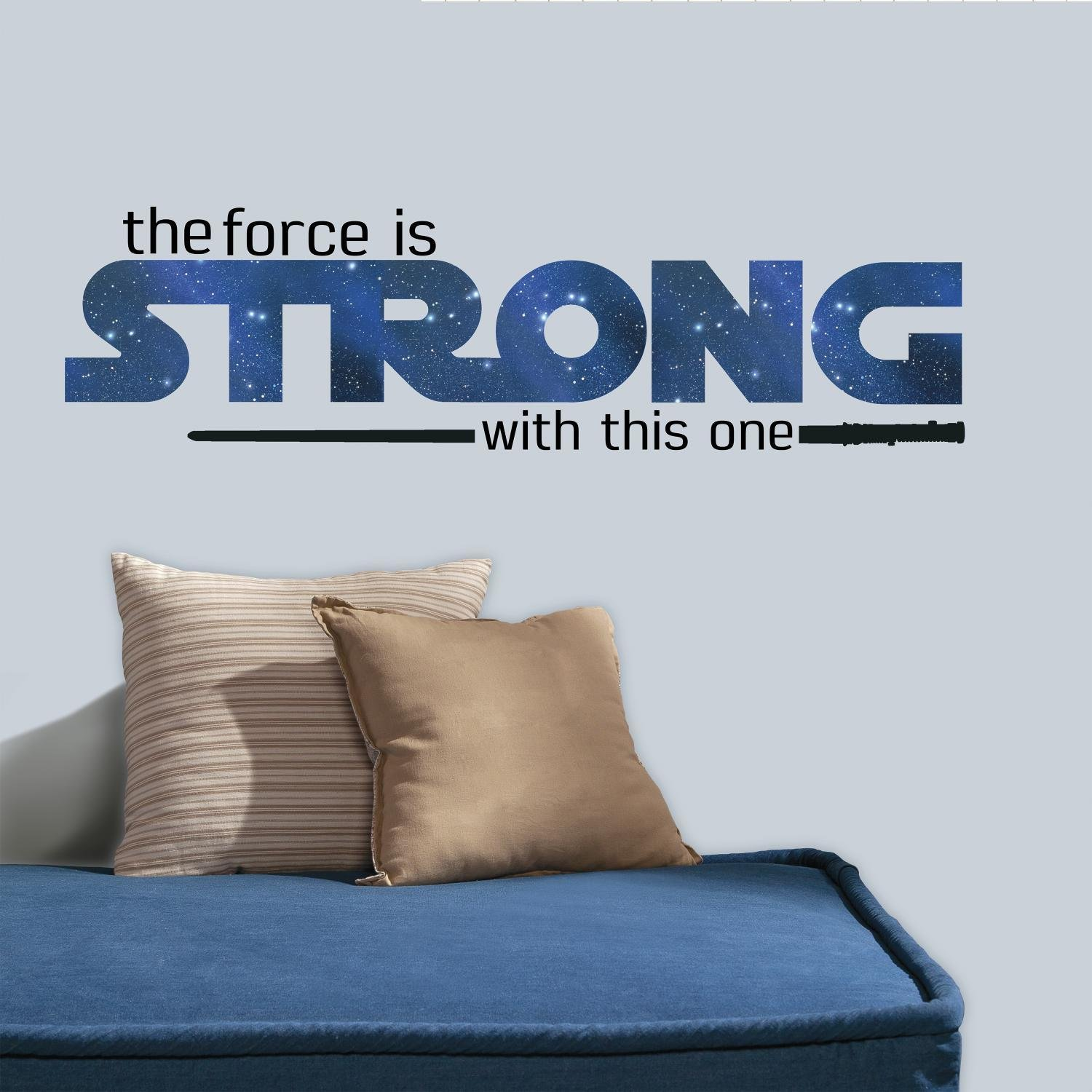 RoomMates RMK3077SCS Star Wars Classic The Force is Strong P&S Wall Decals, 35.25'' x 10'' by RoomMates (Image #1)