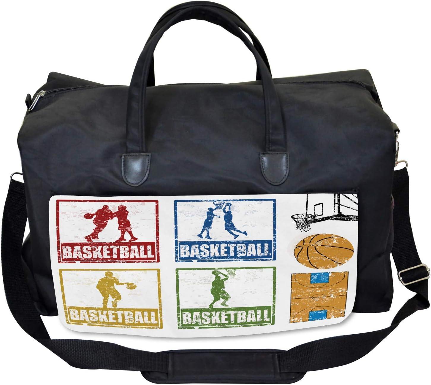 Large Weekender Carry-on Grunge Basketball Sport Ambesonne Retro Gym Bag