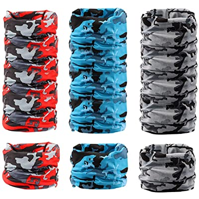 Pack of 6 Neck Gaiters//Face Mask Sunscreen Breathable UV Headwear Multicolor