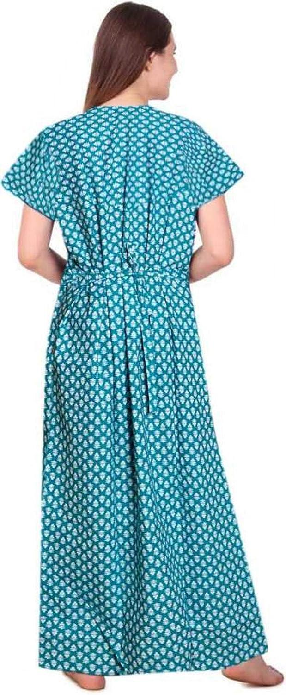 Metallic India Womens Cotton Feeding//Maternity Nighty Gown for Baby Feeding Sleeping Nighty Green White