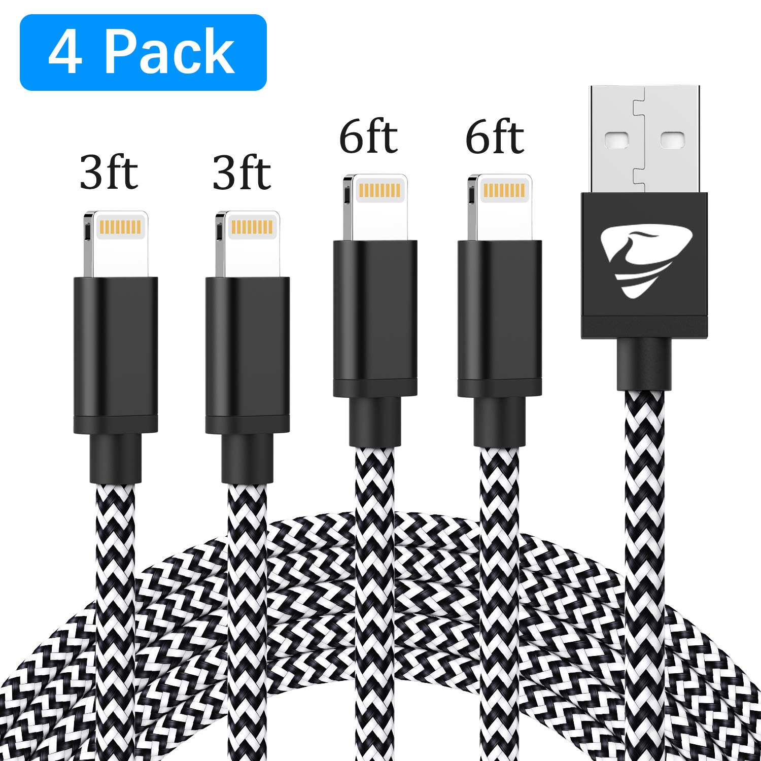 iPhone Charger MFi Certified Fast iPhone Charging Cord Aioneus 4Pack 6FT 6FT 3FT 3FT Nylon Braided Cable Charger Cord Compatible with iPhone Xs X XR 8 8 Plus 7 7 Plus 6 6s Plus 5s 5c SE iPad by Aioneus