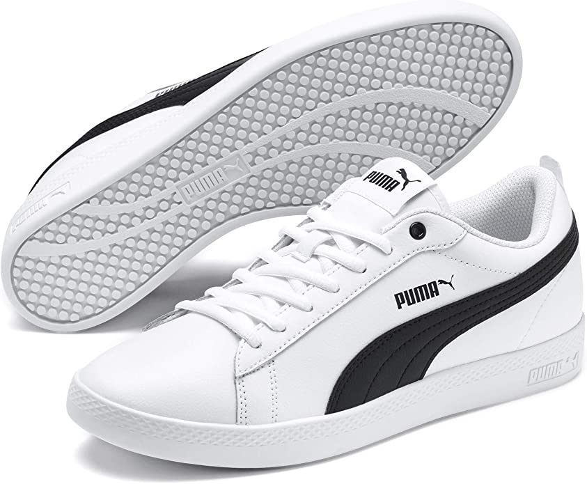 Puma Smash V2 L Sneakers Damen Weiß mit schwarzen Streifen