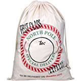 Extra Large Cotton Santa Bag with Drawstring Tie Closure 39 x 27 Santa Sack for Christmas Presents, Stocking Stuffers & Holiday Gifts (1 PC)