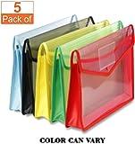 Prash Envelope Folder,Transparent Poly-Plastic A4 Documents File Storage Bag With Snap Button Set Of 5/Certificate File Holder/Document Folder For Certificates A4 Size/Legal/Brief Bag For Document(Color May Vary)