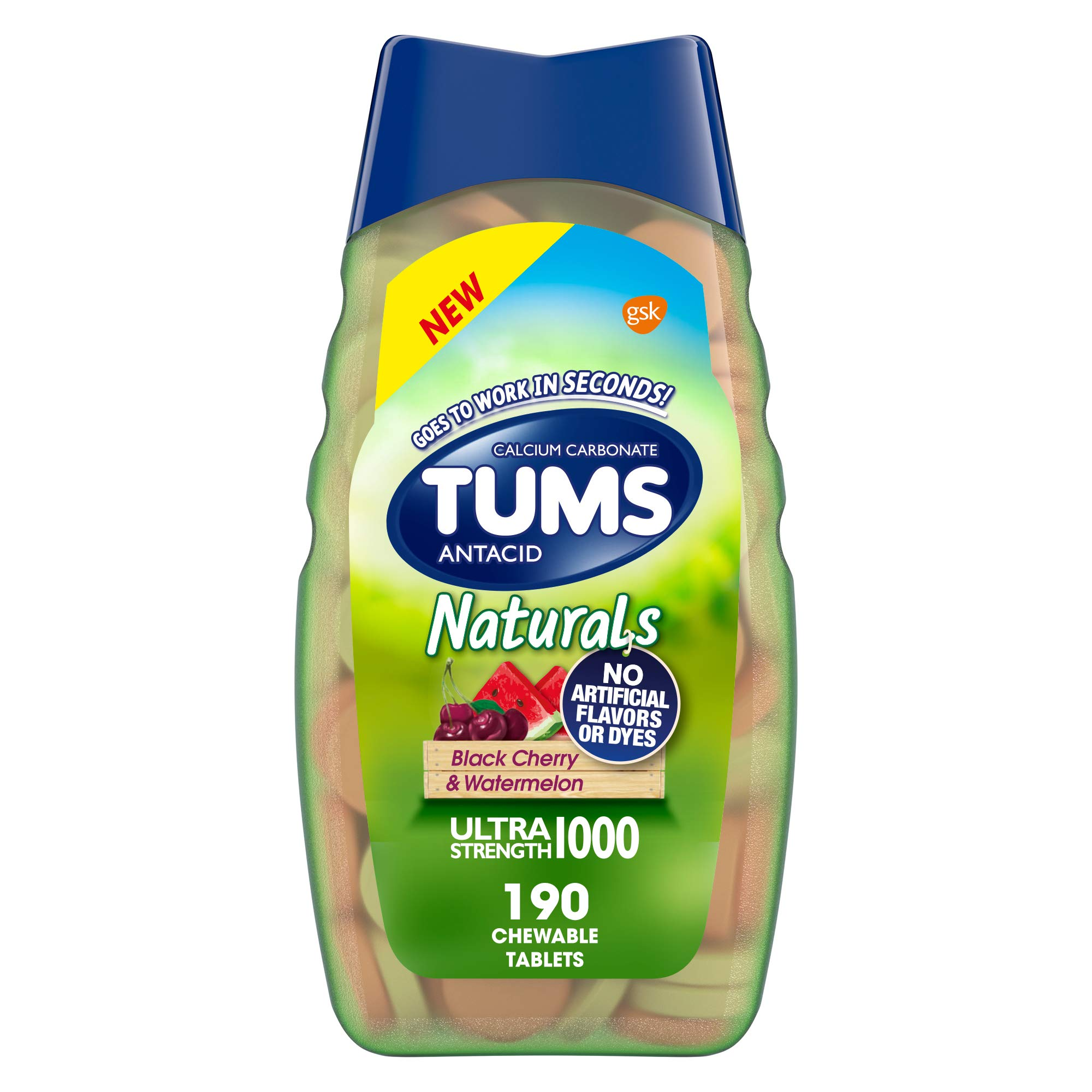 TUMS Naturals Ultra Strength Antacid Chews for Heartburn Relief, Black Cherry & Watermelon - 190 Count
