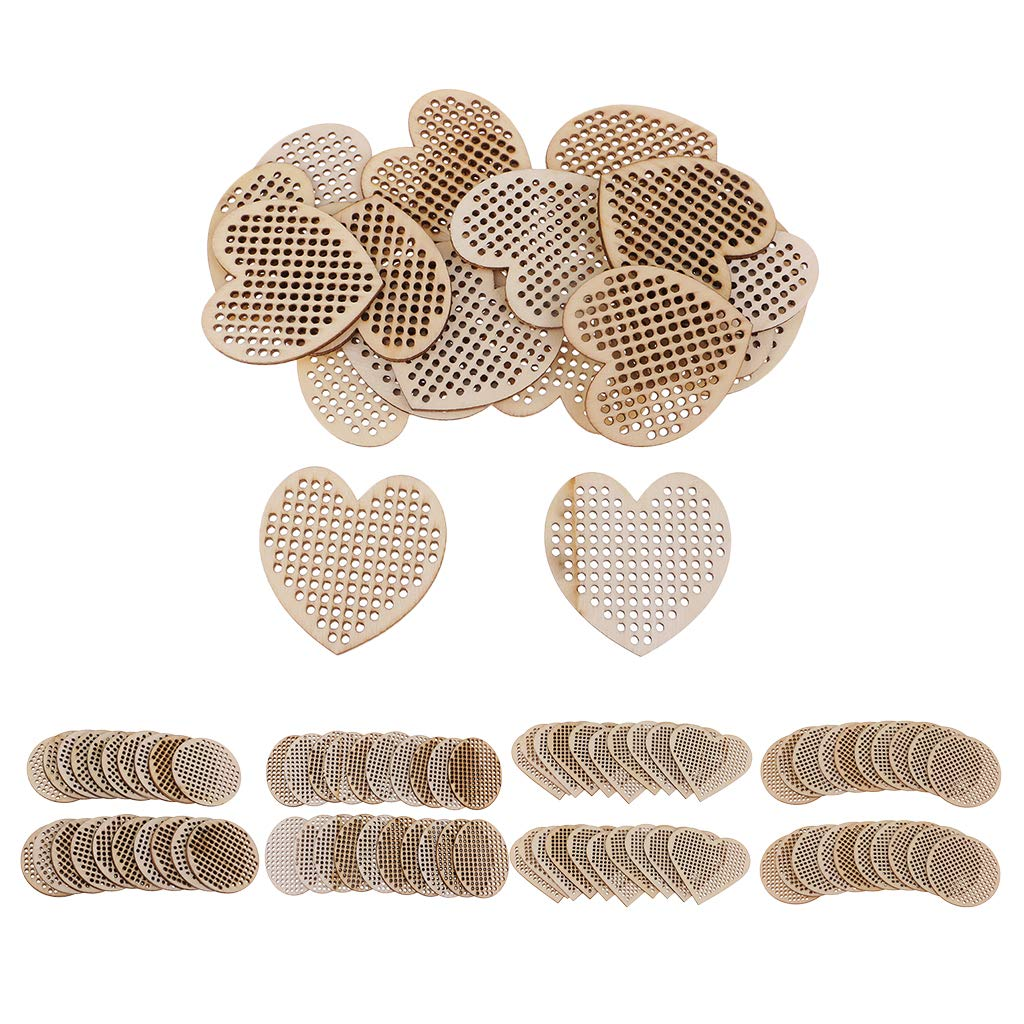 Baosity 20 Pieces Natural Wood Oval//Heart//Round Shapes Multi-Hole Wooden Pendant for Counted Cross Stitch Kit DIY Home Christmas Decoration Ornaments 50mm Circle