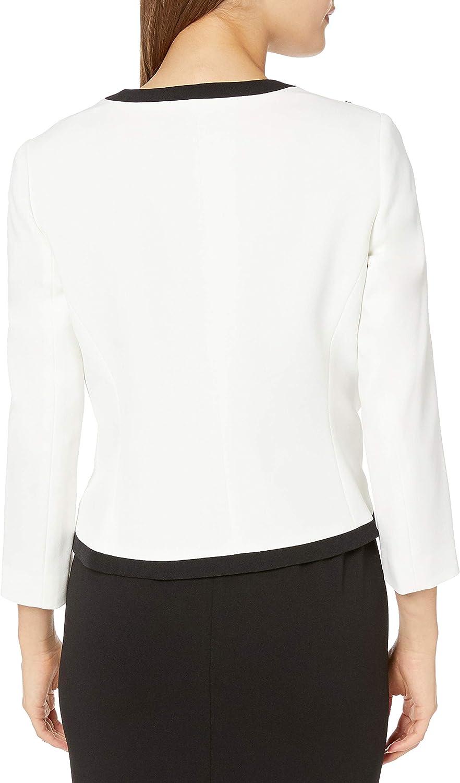 Kasper Womens Jewel Neck Fly Away Jacket with Embroidered Detail Blazer