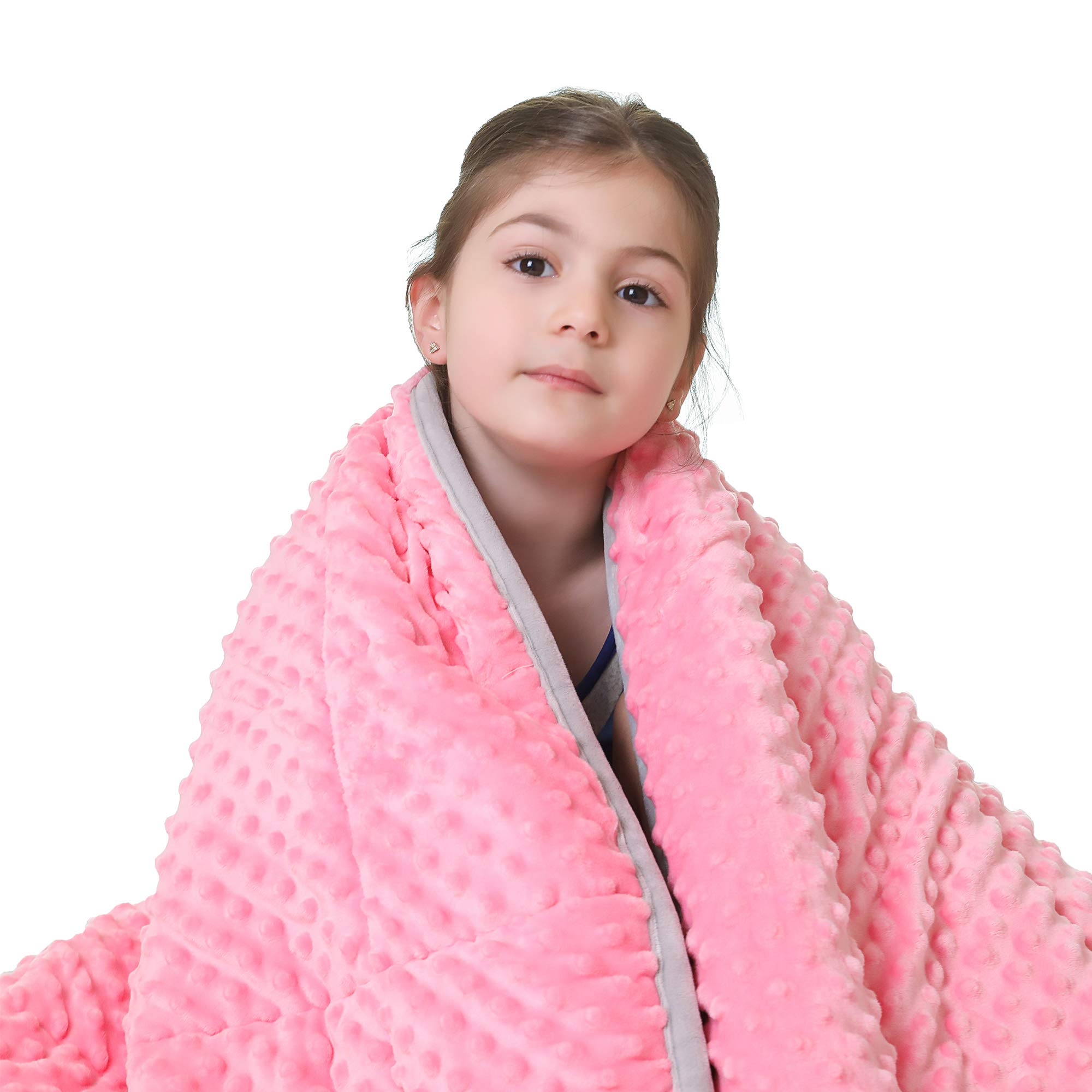 JHMENG Weighted Blanket for Kids(5lbs for 30-70 lbs) 2.0Heavy Blanket Soft Minky with Nontoxic Glass Beads for Calm Sleeping(Pink-Minky Cover,36''x48'' 5lbs)