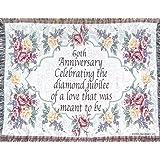 60th Wedding Anniversary Sofa Throw - 60th Anniversary Gift - Made in USA