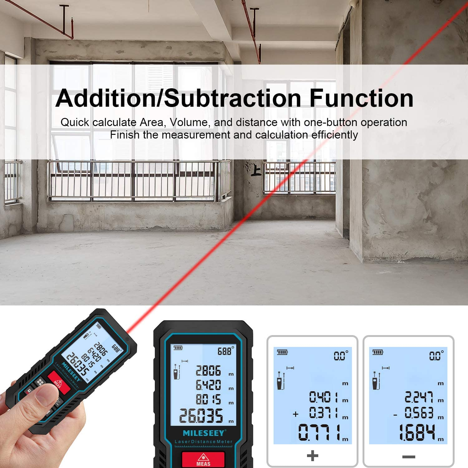 70M Laser Measure Area and Volume /±2mm Accuracy Distance 393ft Digital Laser Distance Meter with Upgraded Electronic Angle Sensor Battery Included Backlit LCD Display Mute Function Pythagoras