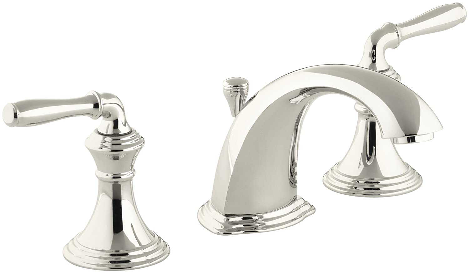 KOHLER Devonshire K-394-4-SN 2-Handle Widespread Bathroom Faucet with Metal  Drain Assembly in Polished Nickel
