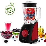 Aigostar Pomegranate 30JDF – Mixeur blender multifonction sans BPA. 750 W et deux vitesses, fonction glace pilée. Jarre en verre de 1,5 litres et 4 lames en acier inoxydable de qualité alimentaire. Couleur rouge et noir. Design exclusif.