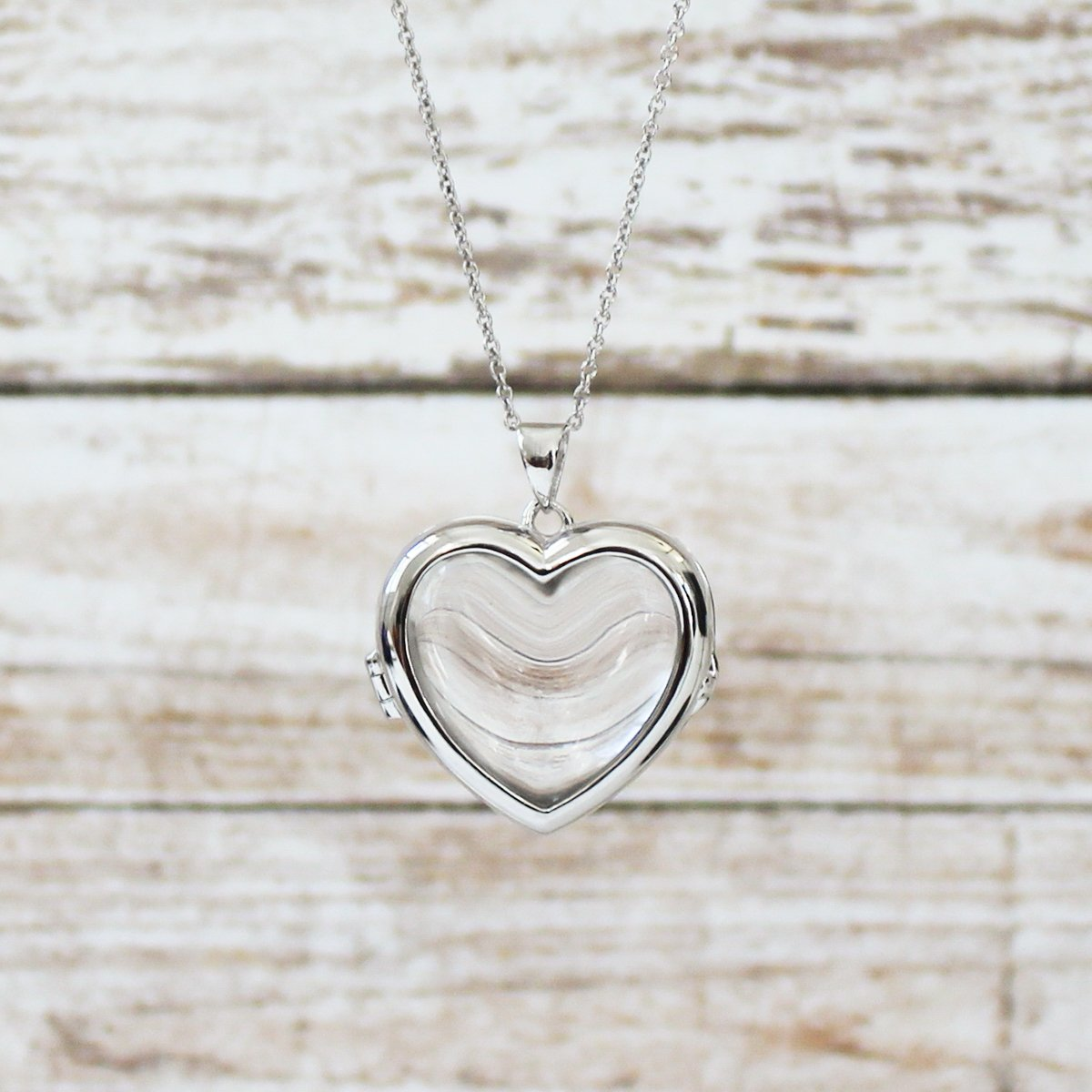 Sterling Silver-Glass-Custom Photo Locket Necklace-34-inch chain-The Nina by With You Lockets by With You Lockets (Image #4)