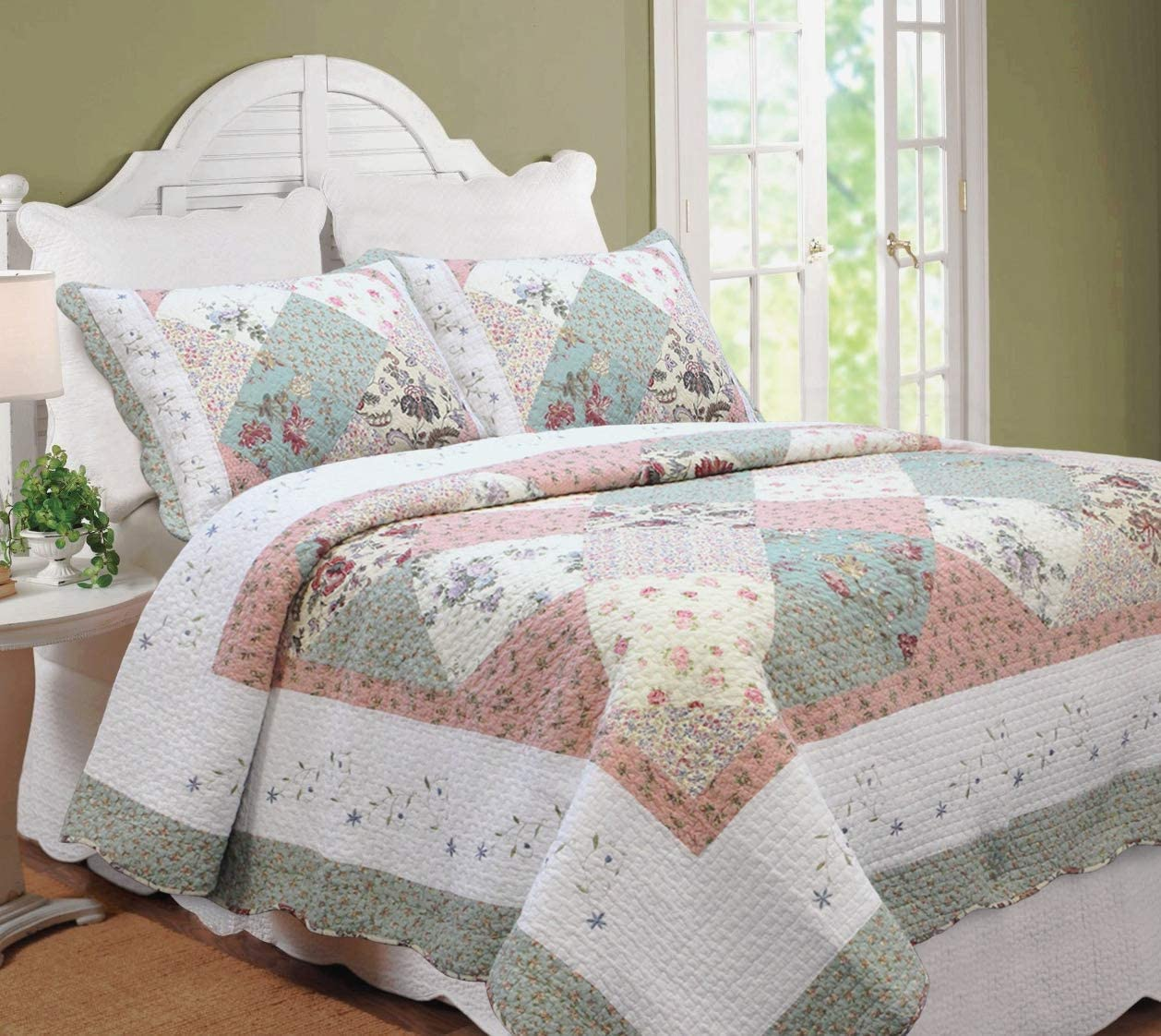 Cozy Line Home Fashions Floral Real Patchwork Tiffany Green Pink Lilac Scalloped Edge Country 100% Cotton Quilt Bedding Set, Reversible Coverlet Bedspread for Women (Celia, King - 3 Piece)